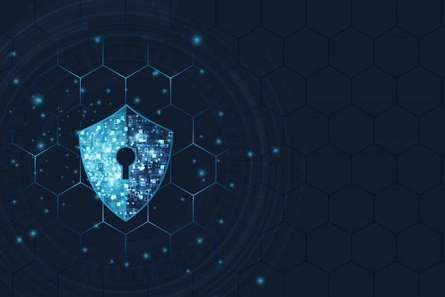 Fondo astratto di tecnologia digitale di sicurezza. meccanismo di protezione e privacy del sistema Vettore Premium