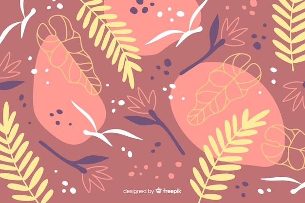 Fondo astratto disegnato a mano delle piante tropicali Vettore gratuito