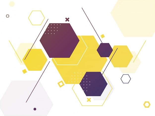 Fondo astratto geometrico esagonale in bianco per la scienza. Vettore Premium