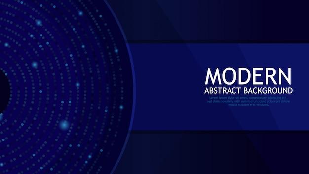 Fondo astratto moderno blu scuro e lotto di cerchi con differenti colori Vettore Premium