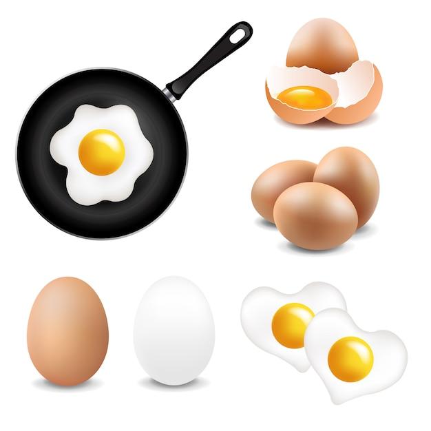 Fondo bianco della grande raccolta delle uova Vettore Premium