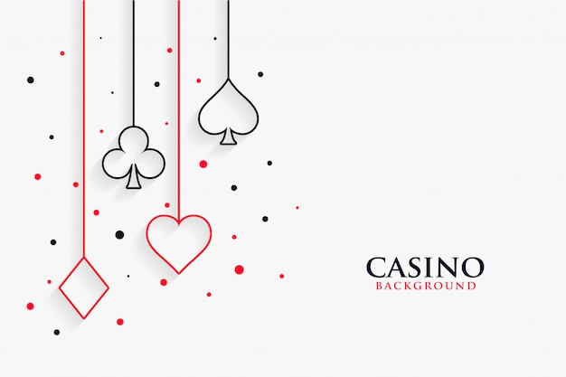Fondo bianco di simboli di linea delle carte da gioco del casinò Vettore gratuito