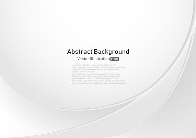 Fondo bianco e grigio astratto della curva Vettore Premium