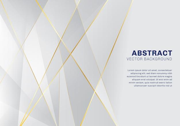 Fondo bianco e grigio di lusso del modello poligonale astratto Vettore Premium