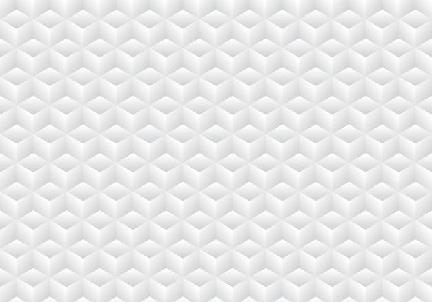 Fondo bianco e grigio geometrico realistico del modello dei cubi 3d Vettore Premium