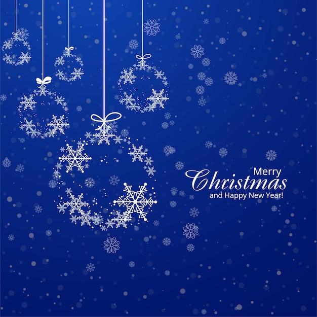 Fondo blu decorativo della palla dei fiocchi di neve della cartolina di natale Vettore gratuito