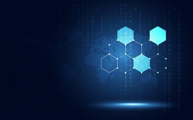 Fondo blu futuristico del favo di esagono Vettore Premium