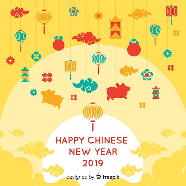 Fondo cinese del nuovo anno degli elementi minuscoli Vettore gratuito