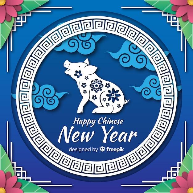 Fondo cinese del nuovo anno della siluetta del maiale Vettore gratuito