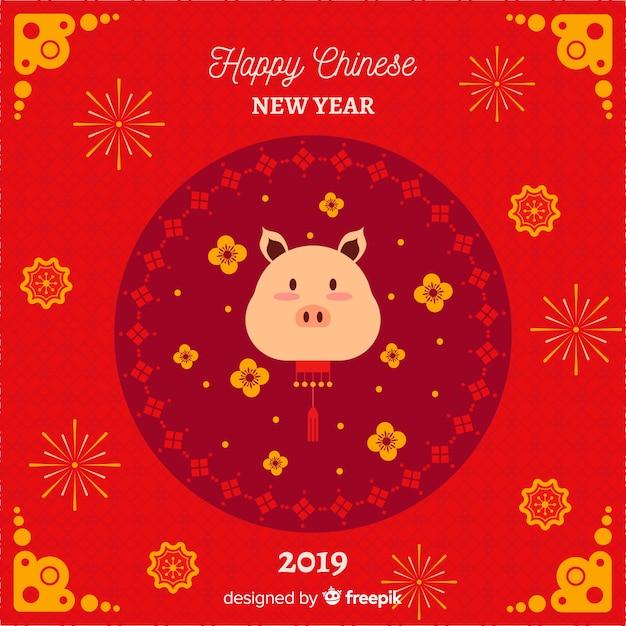 Fondo cinese piano del nuovo anno 2019 Vettore gratuito