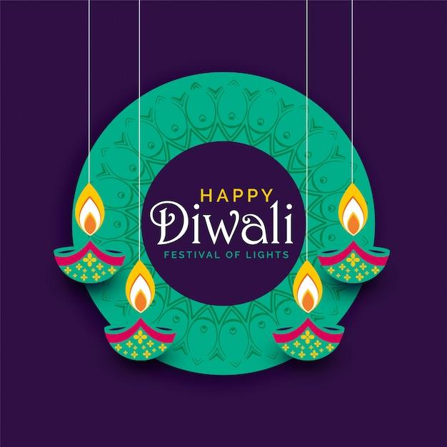 Fondo creativo di progettazione del manifesto di festival di diwali Vettore gratuito