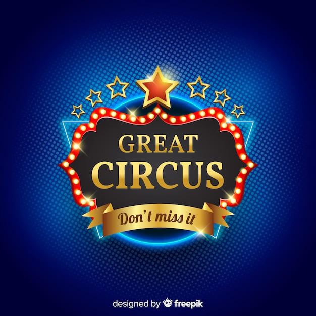 Fondo d'annata del segno della luce del circo Vettore gratuito