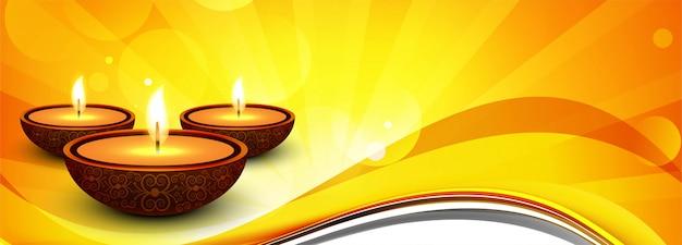 Fondo decorativo dell'insegna felice di festival indù di diwali Vettore gratuito