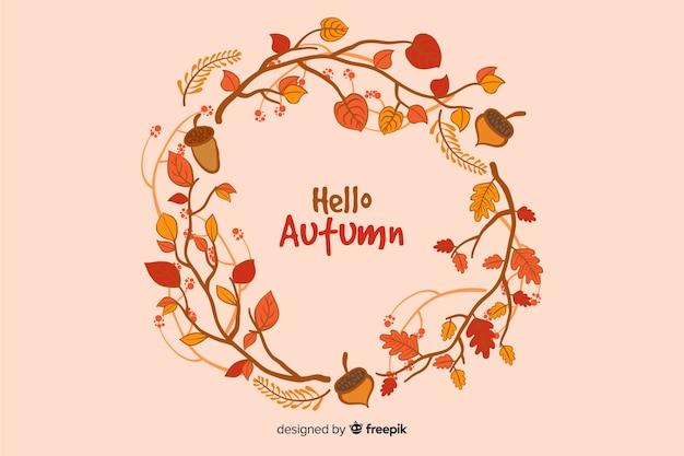 Fondo decorativo di autunno disegnato a mano Vettore gratuito