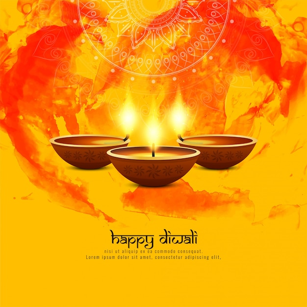 Fondo decorativo di diwali felice astratto Vettore gratuito