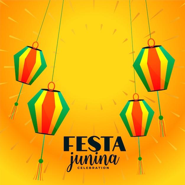 Fondo decorativo di festival delle lampade a sospensione di festa junina Vettore gratuito