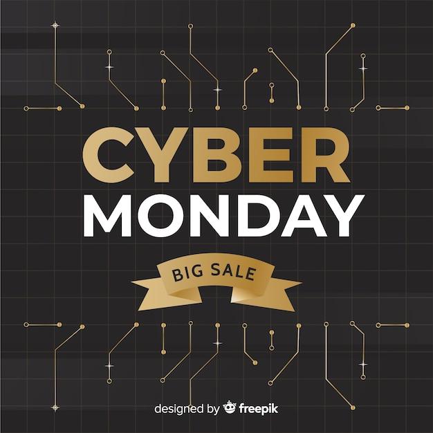Fondo dei circuiti dorati di lunedì di cyber Vettore gratuito