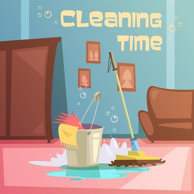 Fondo del fumetto di servizio di pulizia Vettore gratuito