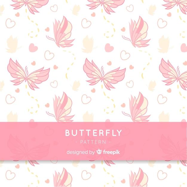 Fondo del modello di farfalla Vettore gratuito