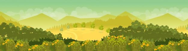 Fondo del paesaggio della catena montuosa nel giorno soleggiato Vettore Premium