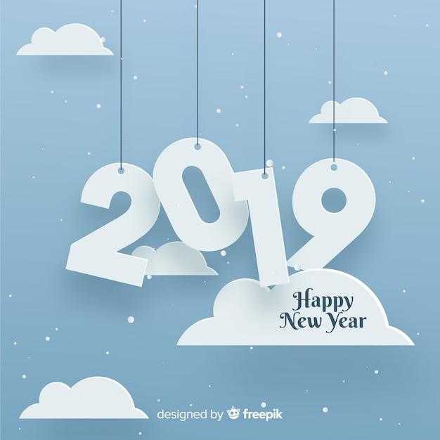 Fondo del papercut del nuovo anno 2019 Vettore gratuito