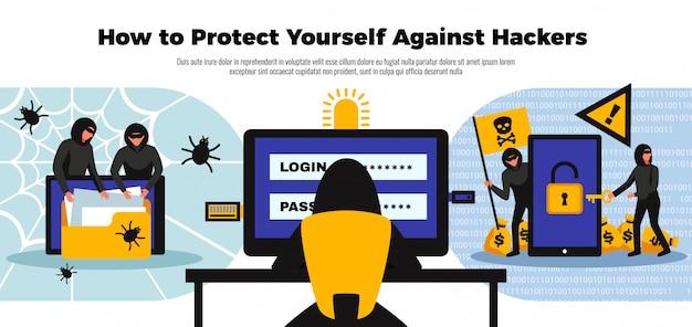 Fondo del pirata informatico con l'illustrazione piana di simboli online del sistema di sicurezza Vettore gratuito