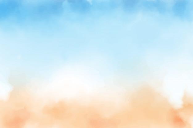 Fondo dell'acquerello della spiaggia di sabbia e del cielo blu Vettore Premium