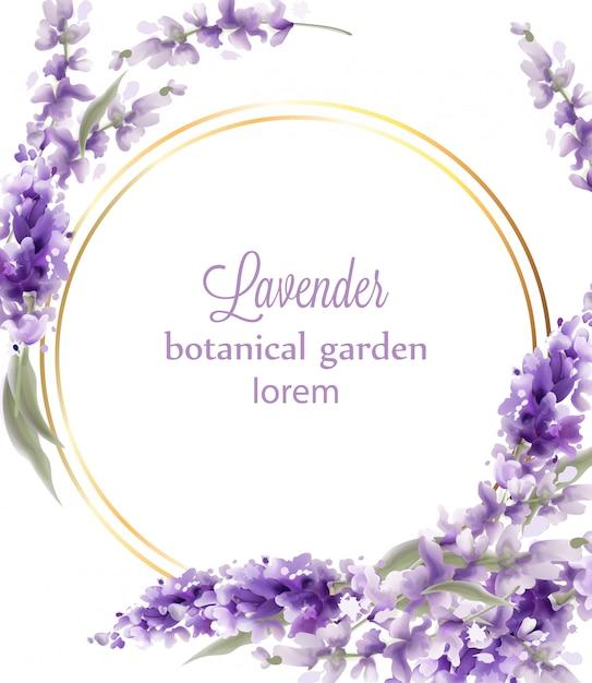 Fondo dell'acquerello della struttura della corona dell'oro della lavanda. mazzi di fiori in stile vintage e cerchio tondo Vettore Premium