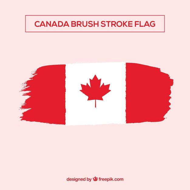 Fondo della bandiera canadese del colpo di brsuh Vettore gratuito