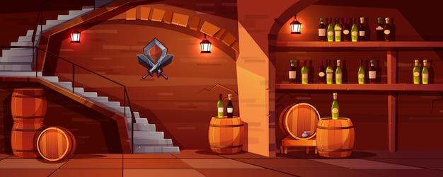Fondo della cantina di vino di vettore, spazio accogliente con i barilotti di legno Vettore gratuito