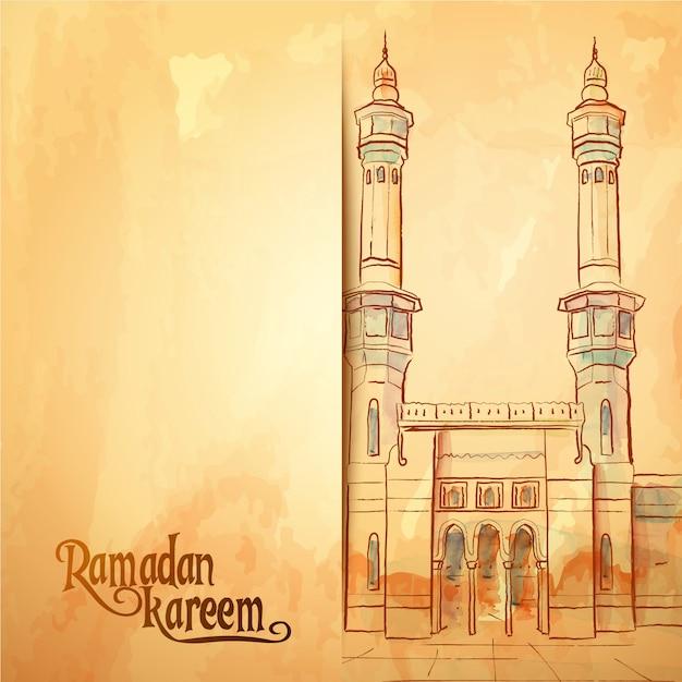Fondo della cartolina d'auguri di ramadan kareem di schizzo della moschea dell'acquerello Vettore Premium