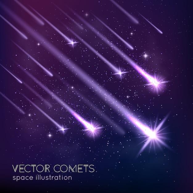 Fondo della doccia di meteora Vettore gratuito