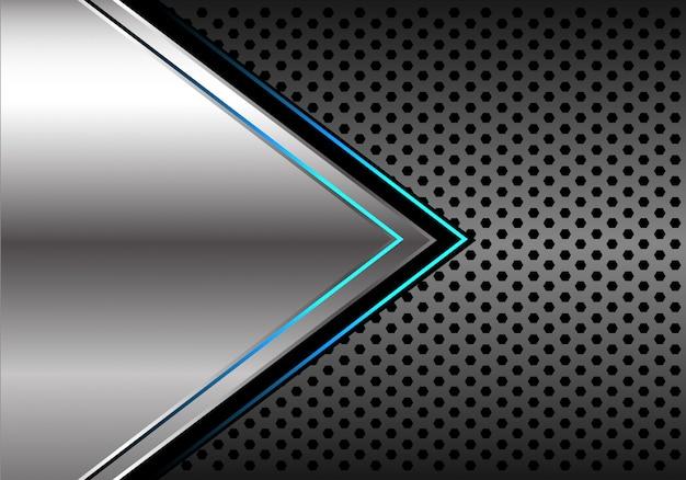Fondo della maglia del cerchio grigio scuro della freccia della luce blu d'argento. Vettore Premium