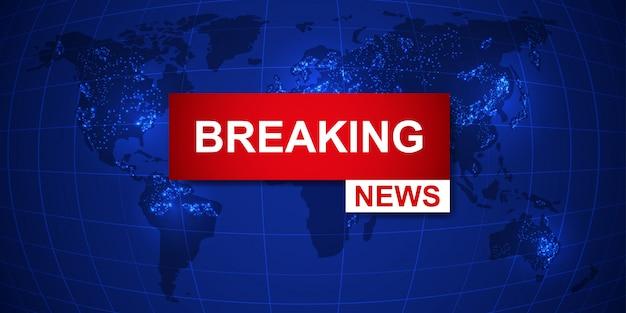 Fondo della mappa mondiale di breaking news Vettore Premium