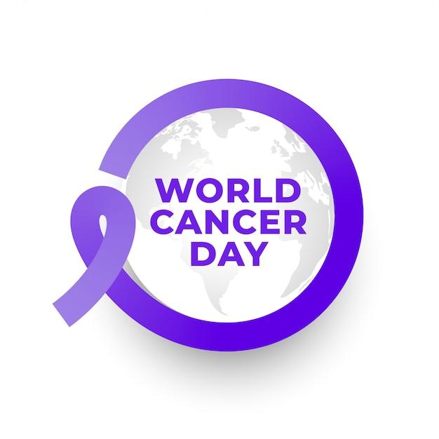 Fondo della struttura del nastro di giornata mondiale del cancro Vettore gratuito