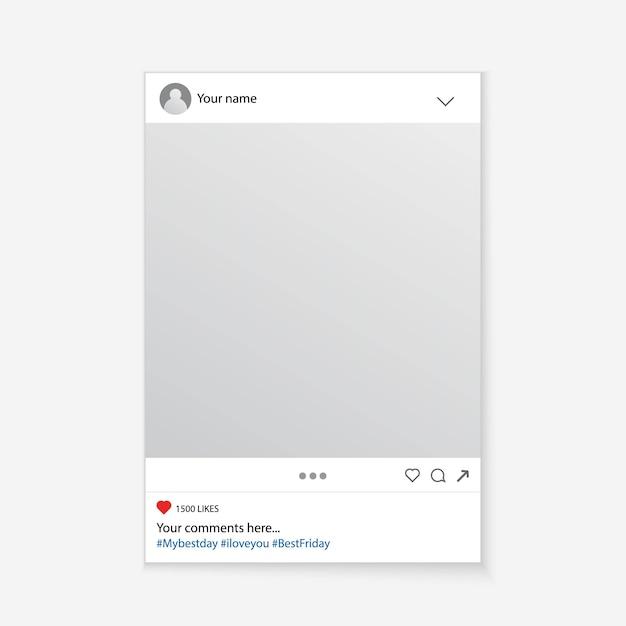 Fondo della struttura del puntello della foto di media sociali. Vettore Premium