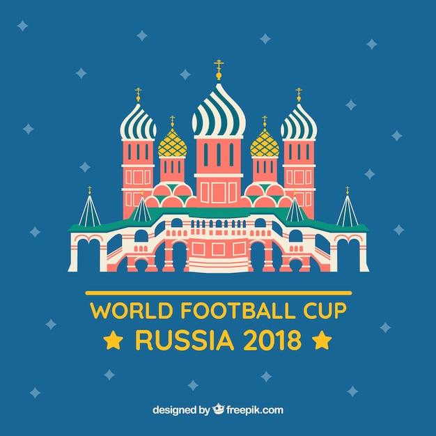 Fondo della tazza di calcio del mondo con costruzione russa Vettore gratuito