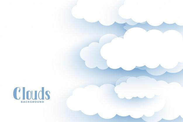 Fondo delle nuvole bianche nella progettazione di stile 3d Vettore gratuito