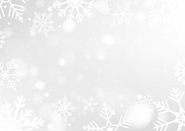 Fondo di buon natale con luci bianche del bokeh Vettore Premium