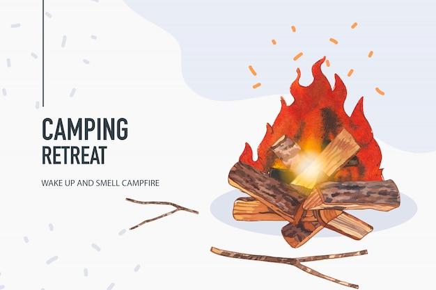 Fondo di campeggio con l'illustrazione del fuoco di accampamento. Vettore gratuito