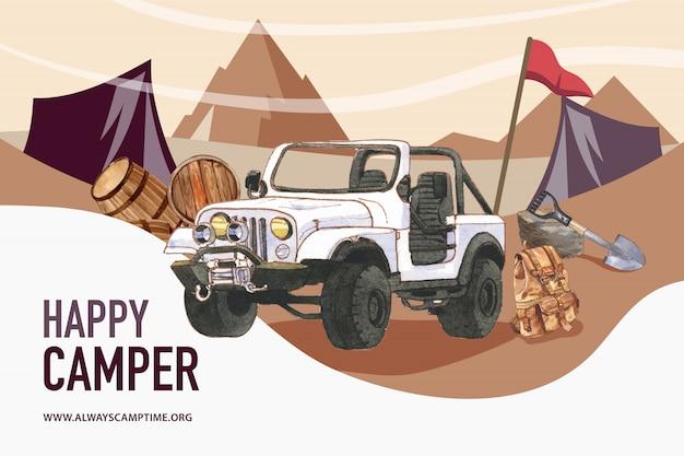 Fondo di campeggio con l'illustrazione dell'automobile, del secchio, della pala e dello zaino. Vettore gratuito