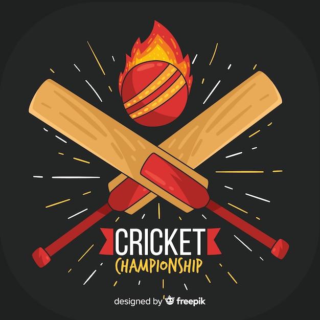 Fondo di campionato del cricket con palla e pipistrelli di fuoco Vettore gratuito