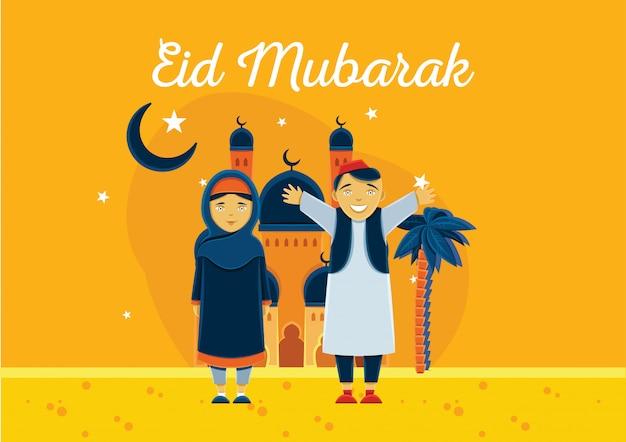 Fondo di celebrazione di eid mubarak con il bambino arabo e moschea sullo sfondo Vettore Premium