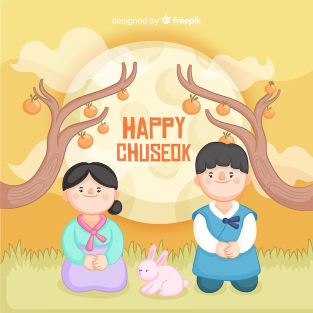 Fondo di chuseok felice disegnato a mano Vettore gratuito