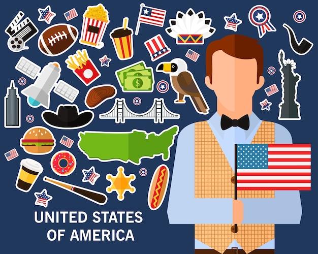 Fondo di concetto degli stati uniti d'america icone piane Vettore Premium