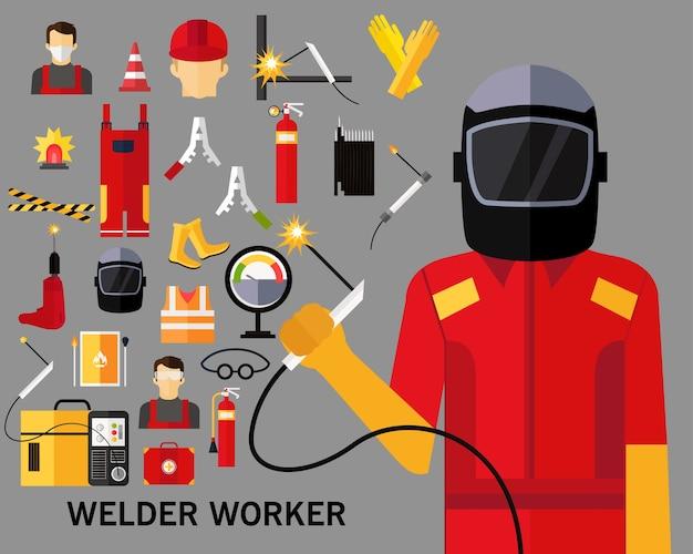 Fondo di concetto del lavoratore del saldatore. icone piatte. Vettore Premium