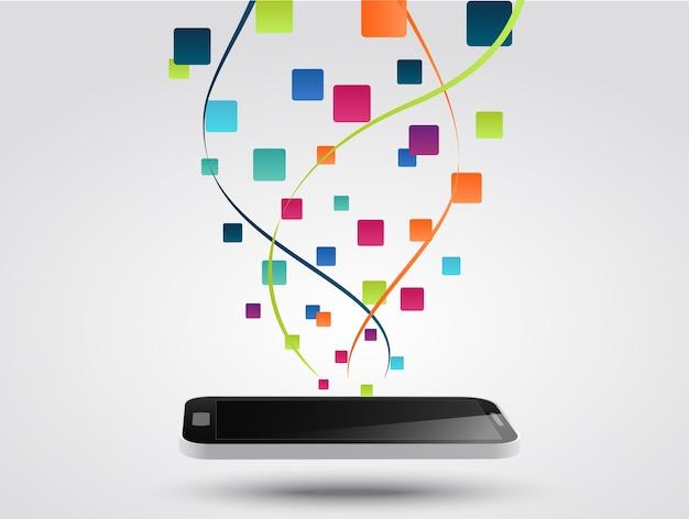Fondo di concetto dell'icona degli app dello smart phone Vettore Premium