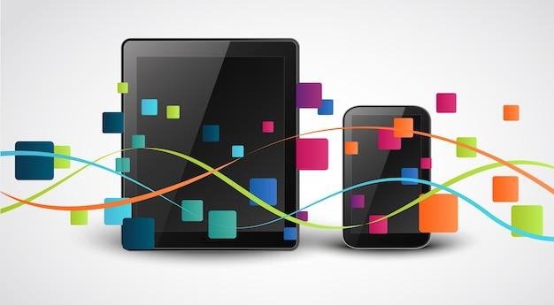 Fondo di concetto dell'icona dei apps di smartphone Vettore Premium