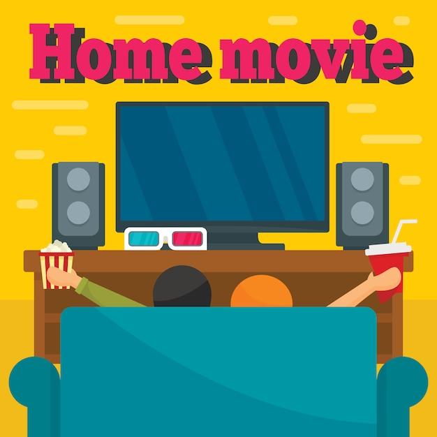 Fondo di concetto di film domestico, stile piano Vettore Premium