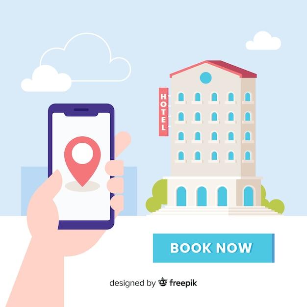 Fondo di concetto di prenotazione dell'hotel piano Vettore gratuito